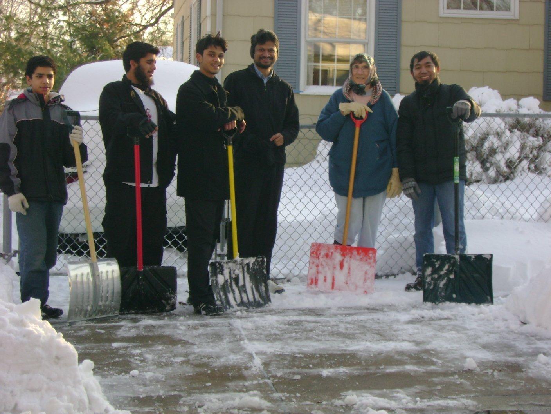 Snow shoveling brigade