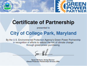 Green Power Partnership Certificate