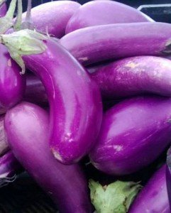 Farm-fresh eggplants at the Hollywood Farmers Market