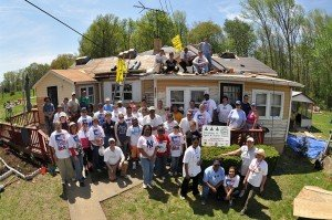 Volunteers helping seniors