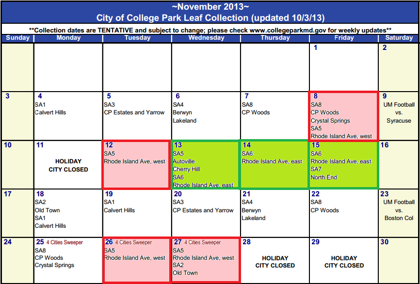 November  2013 Leaf Collection Schedule