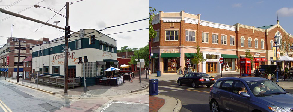 Downtown College Park: The area like around Cornerstone (left) can potentially transform into a mixed use development like Easton town Center in Columbus, Ohio