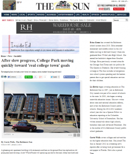 College Park moving quickly toward 'real college town' goals (Baltimore Sun)