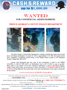 Crime Solver poster for Dunkin Donuts Robbery