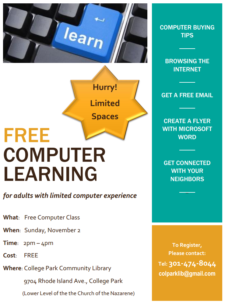 free computer classes for adults near me