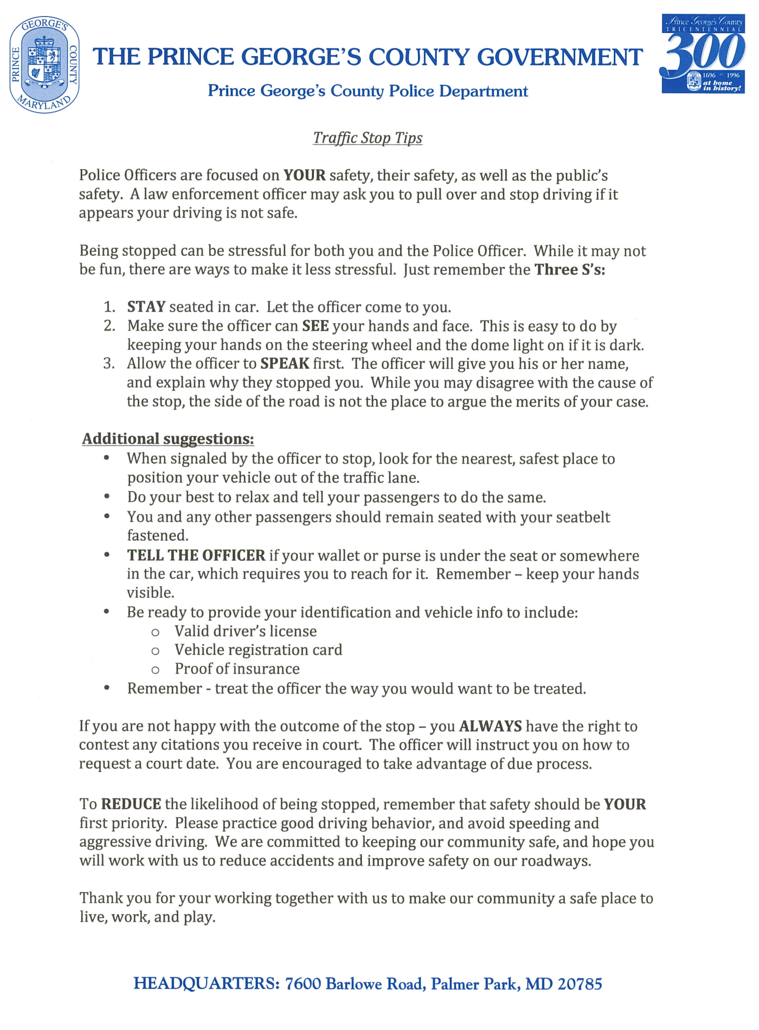 PGPD Traffic Stop Tips